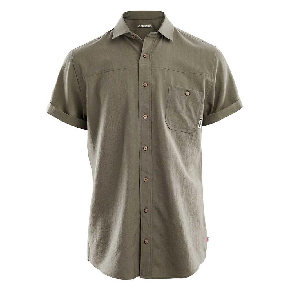 Woven Short Sleeve Wool Shirt [M]